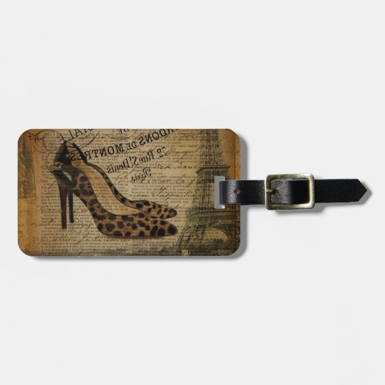 paris eiffel tower fashionista girly shoes luggage tag