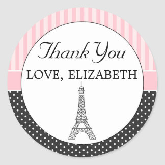 Paris Eiffel Tower Favor Label Thank You Sticker