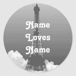 Paris Eiffel Tower Floats in Cloud Name Sticker