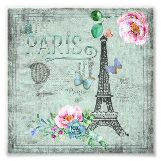 Paris-Eiffel Tower-Flower-Floral-Vintage-Roses Photographic Print
