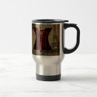 paris eiffel tower flower vintage corset 15 oz stainless steel travel mug