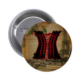 paris eiffel tower flower vintage corset 2 inch round button