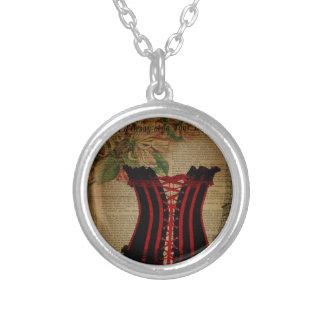 paris eiffel tower flower vintage corset round pendant necklace