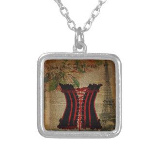 paris eiffel tower flower vintage corset square pendant necklace