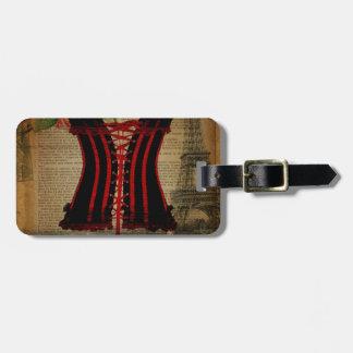 paris eiffel tower flower vintage corset tag for bags