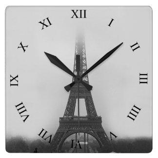 Paris Eiffel Tower Fog B&W Square Wall Clock
