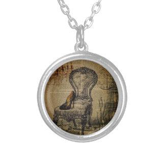 paris eiffel tower french regency rococo round pendant necklace