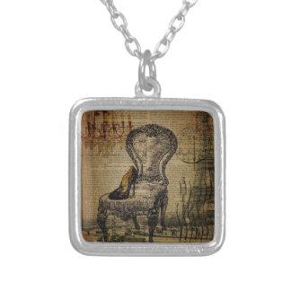 paris eiffel tower french regency rococo square pendant necklace
