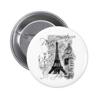 Paris Eiffel Tower French Scene Collage 2 Inch Round Button