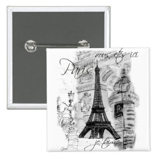 Paris Eiffel Tower French Scene Collage 2 Inch Square Button