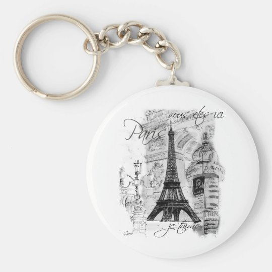 Paris Eiffel Tower French Scene Collage Basic Round Button Keychain