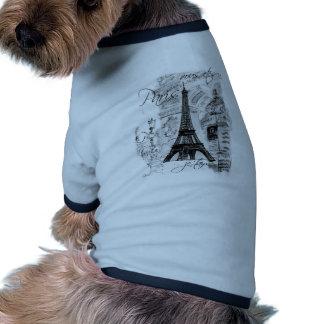 Paris Eiffel Tower French Scene Collage Doggie Tee