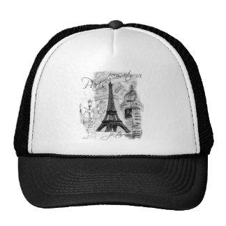 Paris Eiffel Tower French Scene Collage Trucker Hats