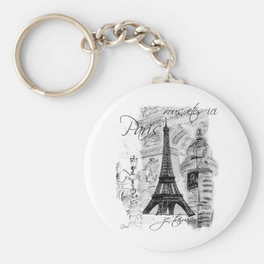 Paris Eiffel Tower French Scene Collage Keychain