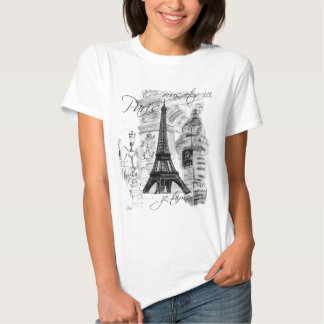 Paris Eiffel Tower French Scene Collage Tee Shirt