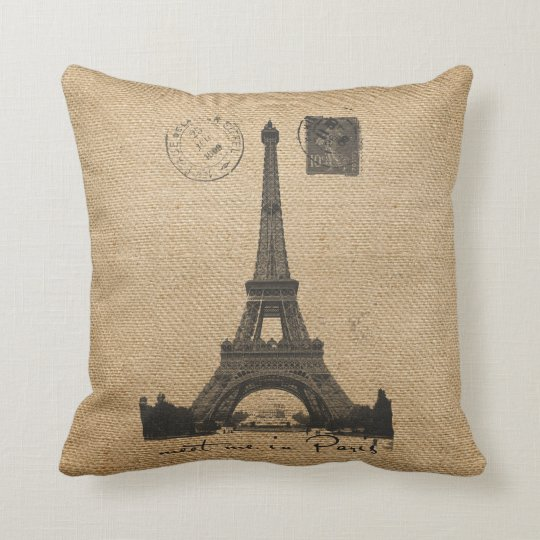 Paris Eiffel Tower Gay Burlap Wedding Personalized Throw Pillow