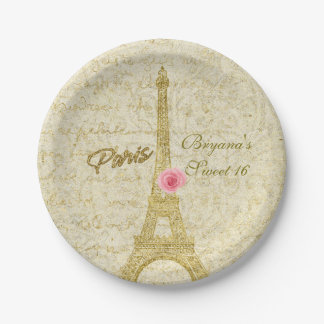 Paris Eiffel Tower Gold & Pink Glamour Party Paper Plate