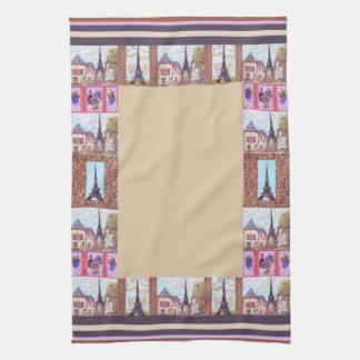 Paris Eiffel Tower inspired border kitchen towel