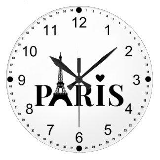 Paris Eiffel Tower Large Clock