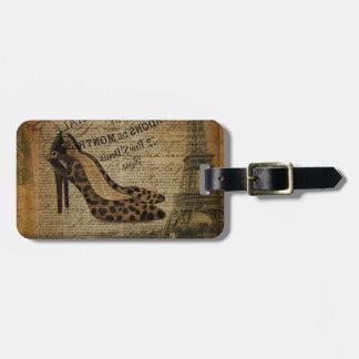 paris eiffel tower leopard hight heel fashionista luggage tag