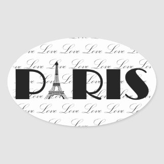Paris Eiffel Tower Love Oval Sticker