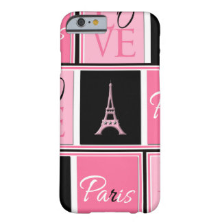 Paris Eiffel Tower Love Pink Black Barely There iPhone 6 Case
