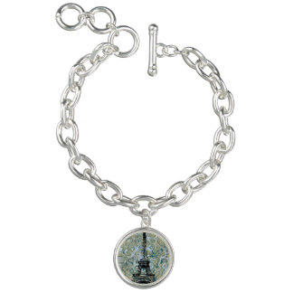 Paris Eiffel Tower Marlble Sky Design Charm Bracelet