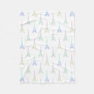 Paris Eiffel Tower Pastel Rainbow Fleece Blanket