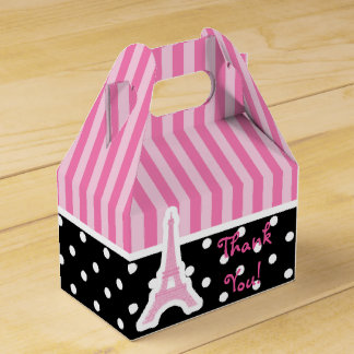 Paris Eiffel Tower Pink Birthday Party Favor Boxes