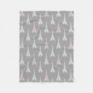 Paris Eiffel Tower PInk Gray Fleece Blanket