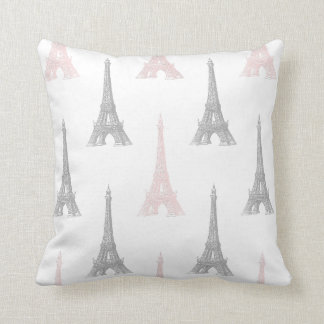 Paris Eiffel Tower Pink Gray White Throw Pillow