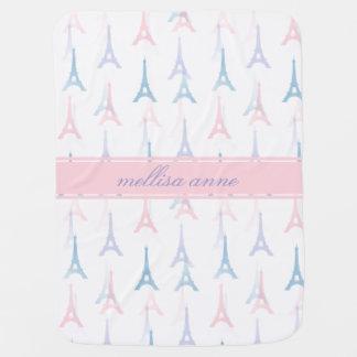 Paris Eiffel Tower Pink Personalized Baby Blanket