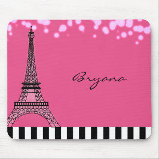 Paris Eiffel Tower Pink Poodle Girls Mouse Pad