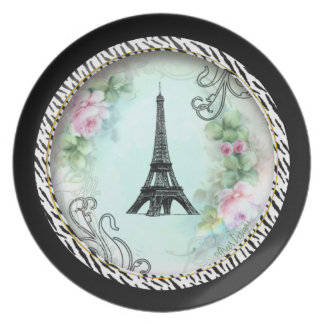 Paris Eiffel Tower Pink Roses Dinner Plate