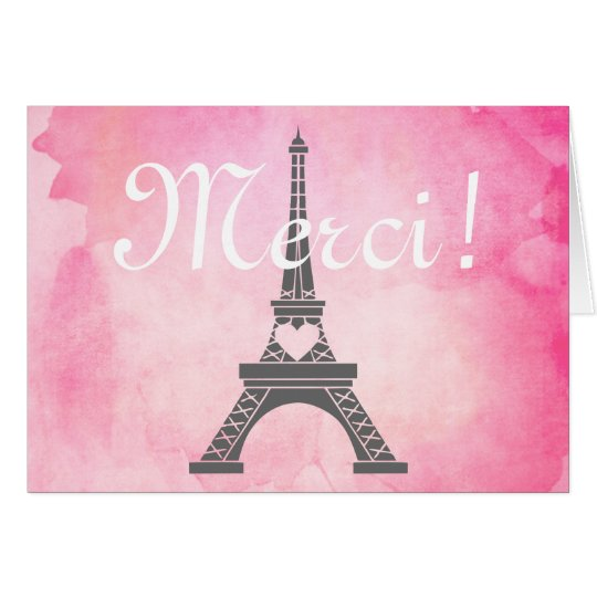 Paris Eiffel Tower Pink Watercolor Thank You Merci Card