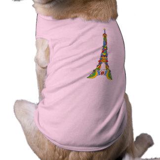 Paris Eiffel tower pop-art stylish silhouette Doggie Tee