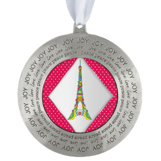 Paris Eiffel tower pop-art stylish silhouette Round Pewter Ornament