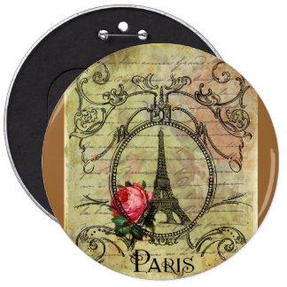 Paris Eiffel Tower & Red Rose Steampunk 6 Inch Round Button