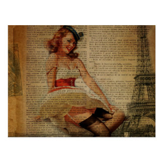 paris eiffel tower retro pinup girl sailor postcard