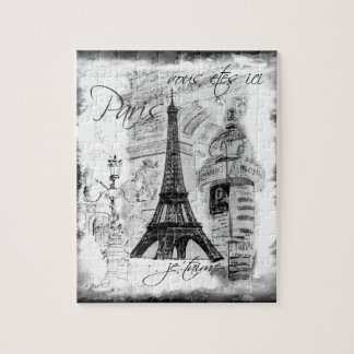 Paris Eiffel Tower Scene Collage Black & White Puzzle