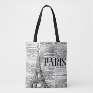 Paris Eiffel Tower Trendy Tote Bag