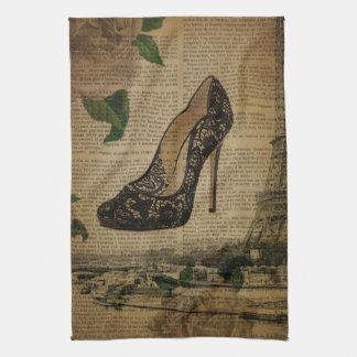 Paris eiffel tower vintage girly shoe Stiletto Kitchen Towel