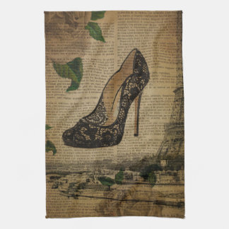 Paris eiffel tower vintage girly shoes kitchen towel