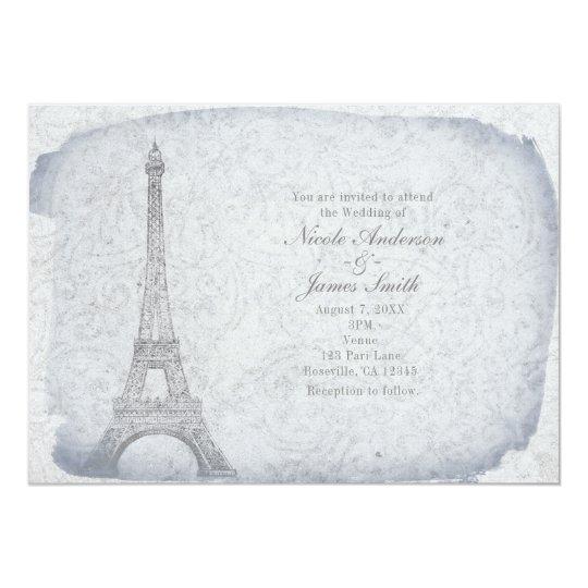 Paris Eiffel Tower Vintage Wedding Invitations