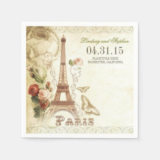 Paris Eiffel tower vintage wedding paper napkins