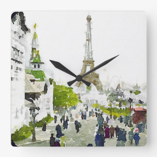 Paris Eiffel Tower Watercolor Painting Square Wall Clock