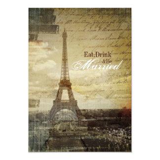 Paris Eiffel Tower Wedding Rehearsal Dinner Card