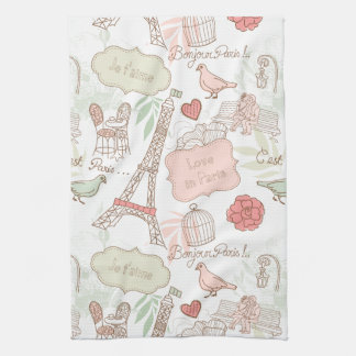 Paris Eiffel Tower Whimsical Pink Kitchen Towel