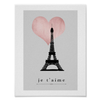Paris Eiffel Tower with Rose Gold Heart Je T'aime Poster