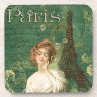 Paris Eiffel Tower Young Woman Bubbles Coaster